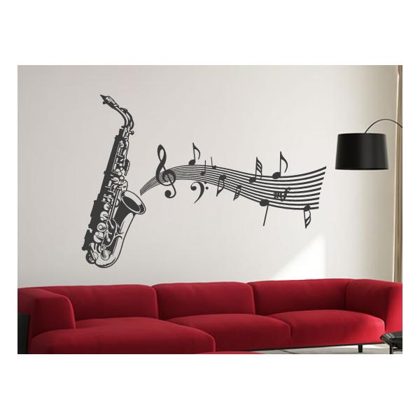 Decoraciones musicales en vinilo vinilo decorativo saxof n - Vinilos decorativos musicales ...